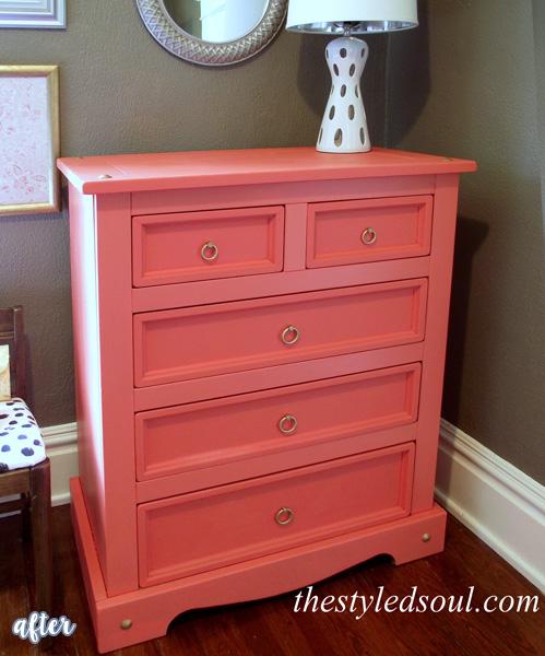 Coral Dresser Makeover | betterafter.net