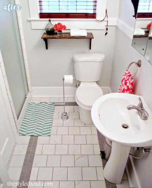 Inspirational White Bathroom Square Tile Makeover betterafter net