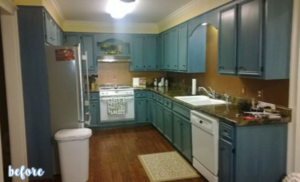 White Kitchen with Subway Tiles Before