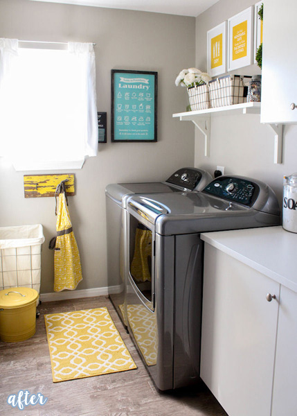 Yellow Accent Laundry Room | betterafter.net