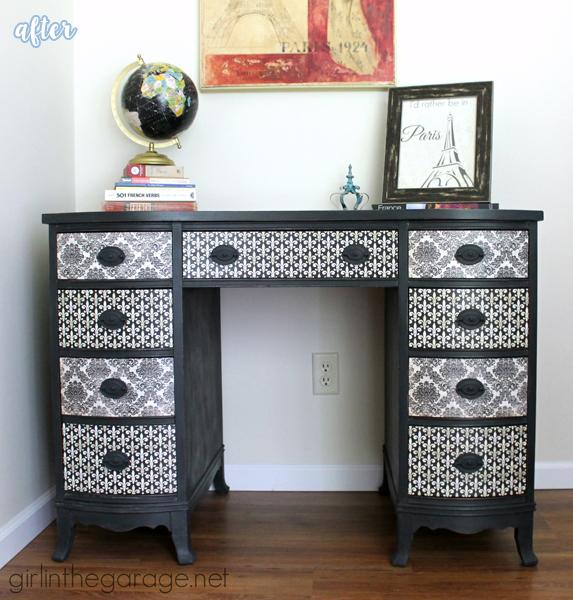 Black and White Decoupaged Desk | betterafter.net
