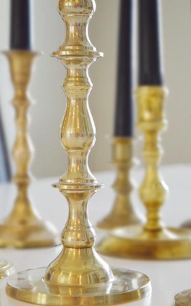 brass candlestick up close