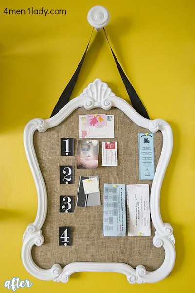 bulletin board from mirror makeover