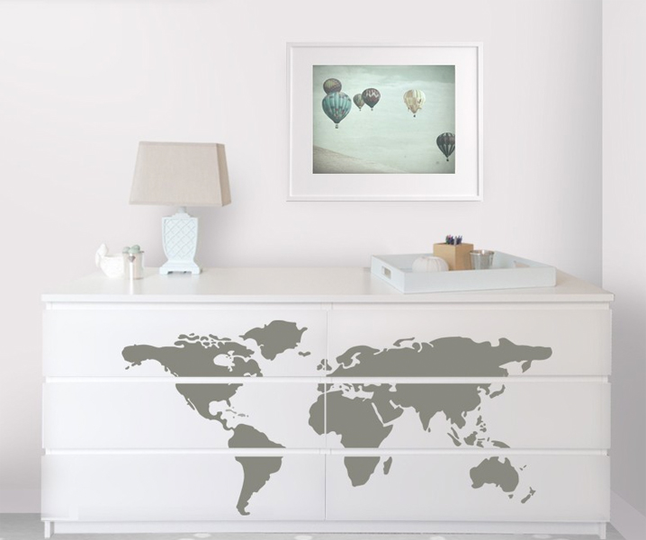 Good lulukuku map decal ikea dresser