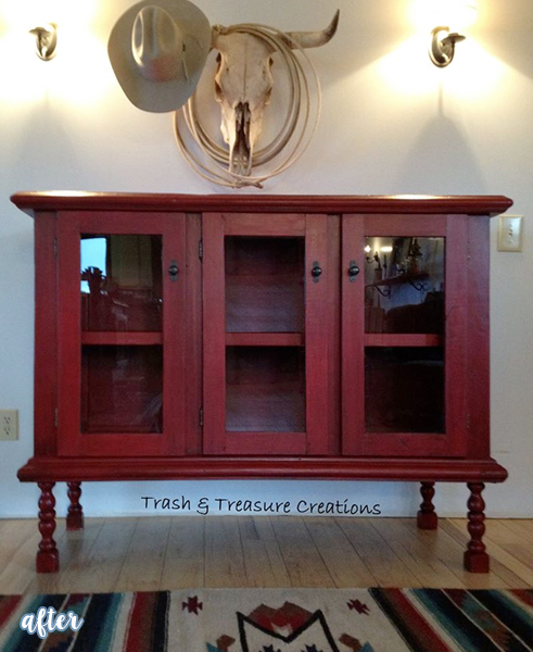 red entertainment center from a coffee table