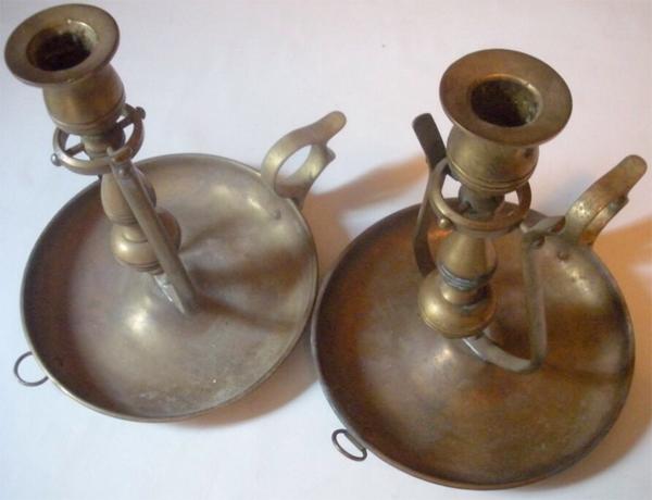unpolished brass candlesticks