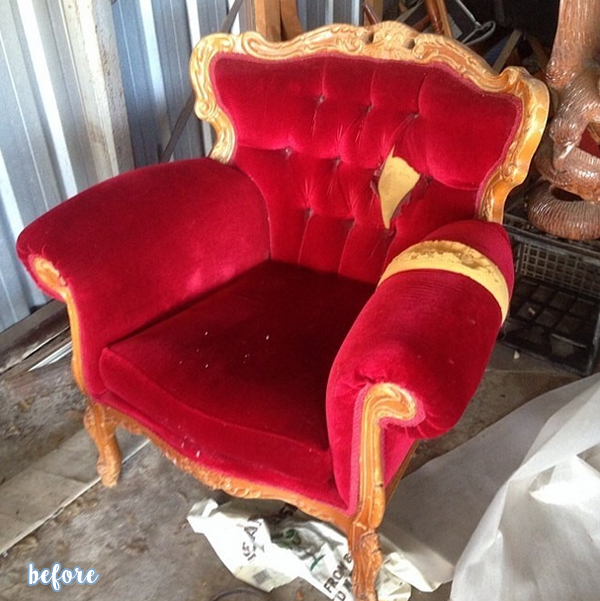 Gray and White French Provincial Chair Before