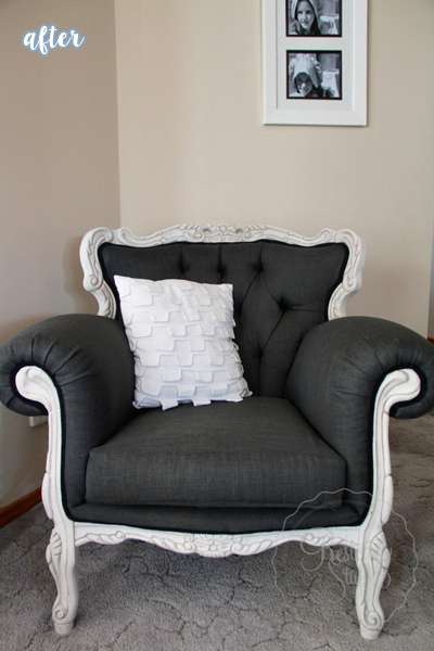 Gray and White French Provincial Chair