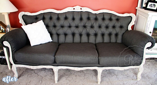 Gray and White French Provincial Couch