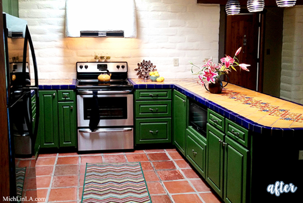 bright Mexico Inspired Green Kitchen After
