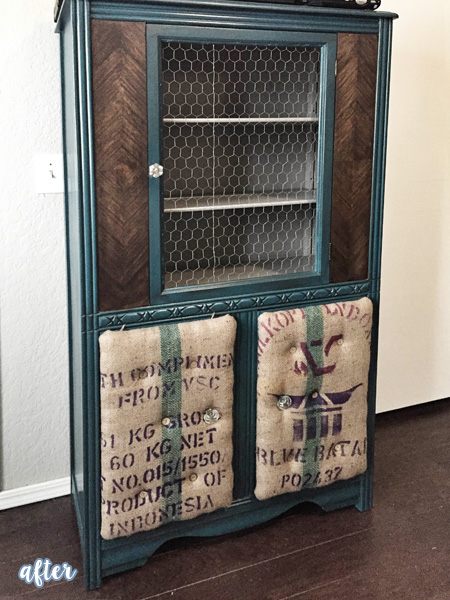 Aqua Cabinet with Coffee Sack Panels