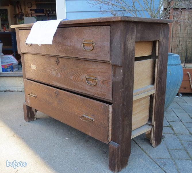 Blue Chest with Stained Top Before