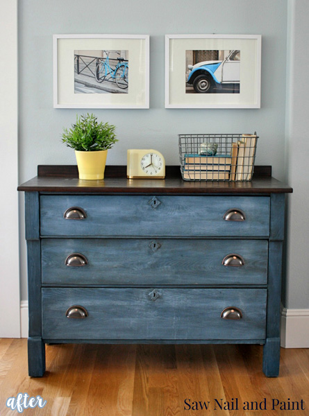 Blue Chest with Stained Top Makeover