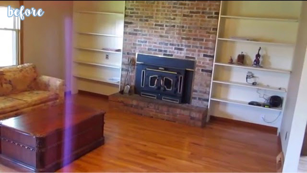 Blue Living Room with Whitewashed Brick Fireplace Before