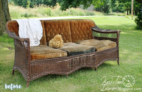 Grain Sack Wicker Sofa Before