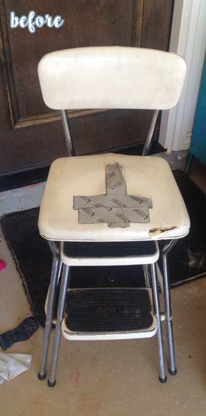 Chevron and Floral High Chair Before