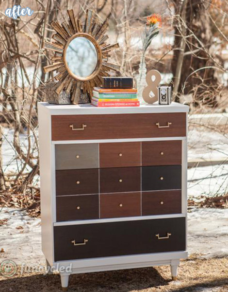 MCM Wood Stained Dresser Makeover