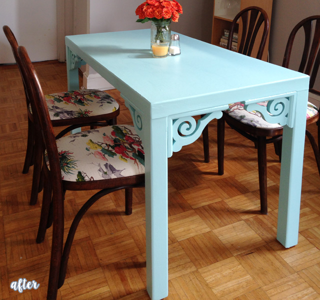 Aqua Cable Table Makeover After
