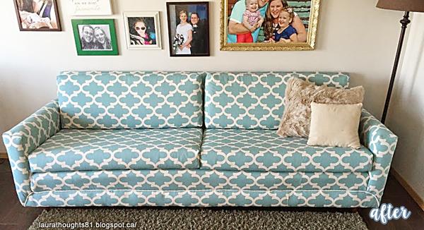 Aqua Quatrefoil Sofa