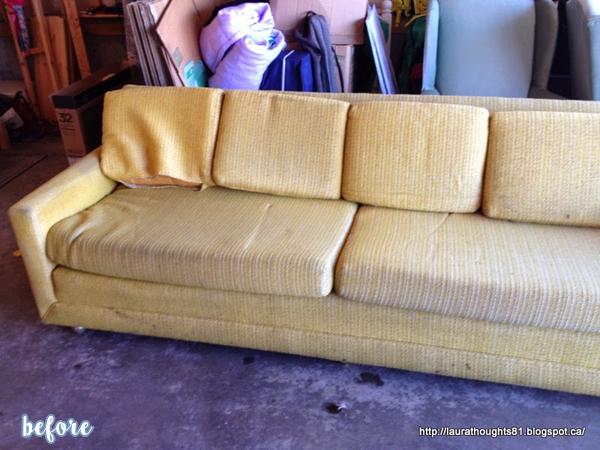 Aqua Quatrefoil Sofa Before