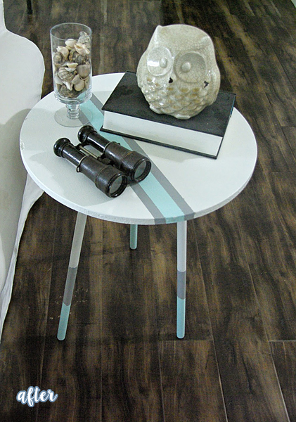 Aqua, White, and Gray Side Table