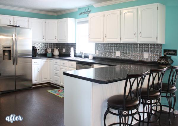 Aqua and Black Kitchen