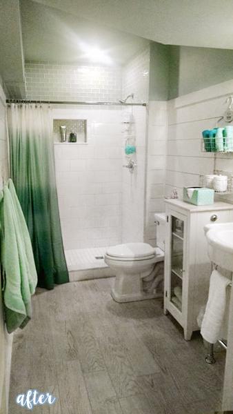 Aqua and White Bathroom