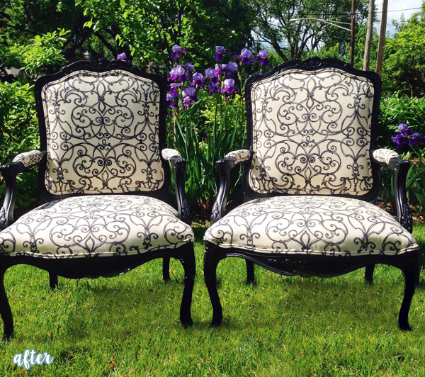 Black and Cream Scroll Chairs
