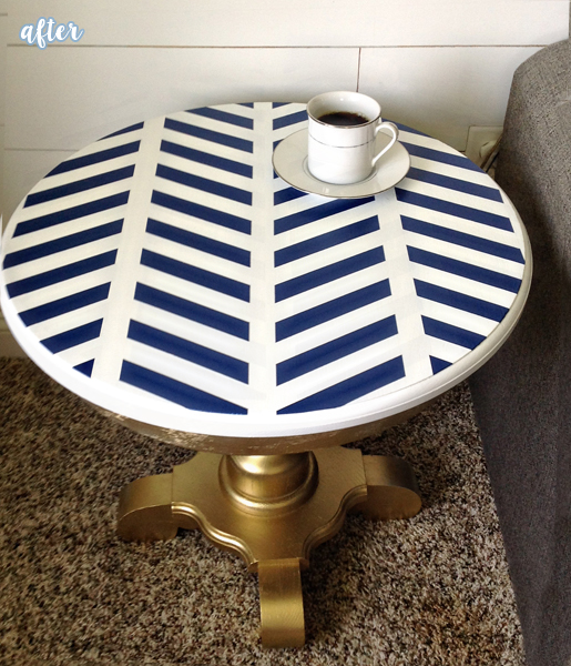 Blue, White, and Gold Side Table