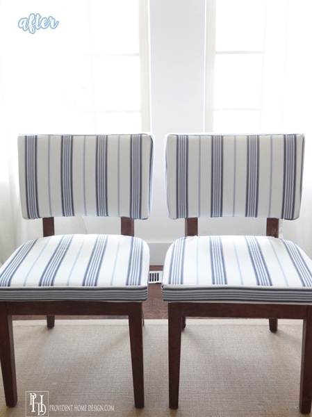 Blue and White Striped Side Chair