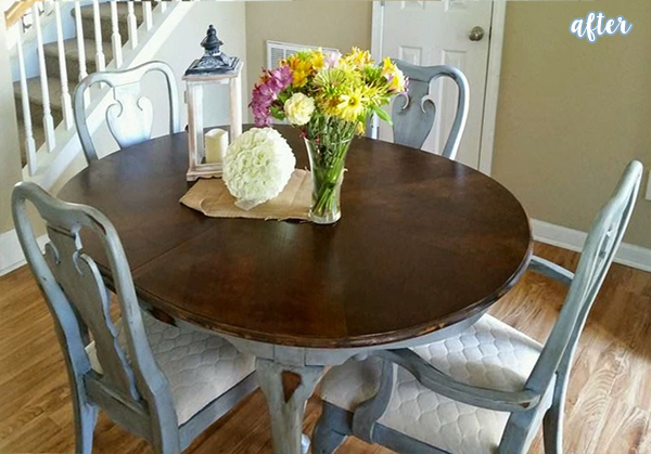 Bluish Kitchen Table with Wood Top