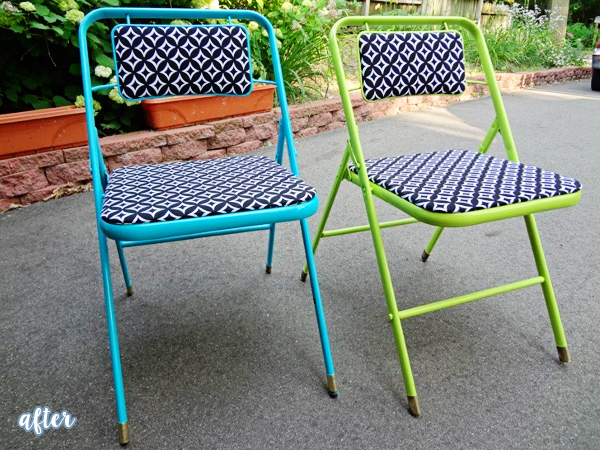 Bright Green and Blue Folding Chairs