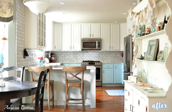 Cream, Blue, and Tiled Kitchen