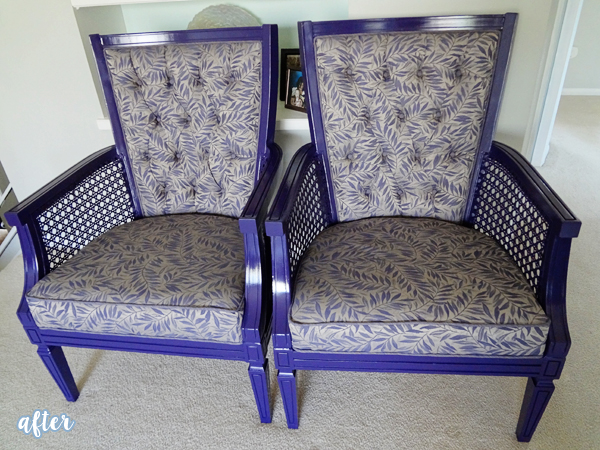 Purple Arm Chairs with Leafy Fabric