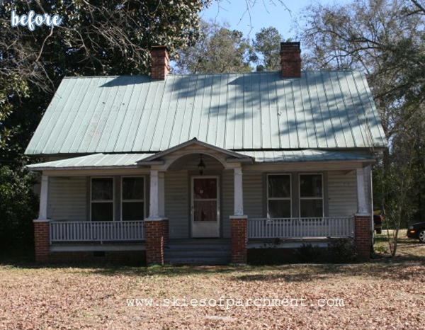 White Cottage Exterior Before