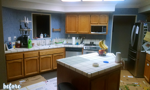 White Gray Kitchen with Open Shelving Before