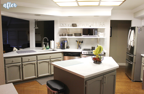 White Gray Kitchen with Open Shelving