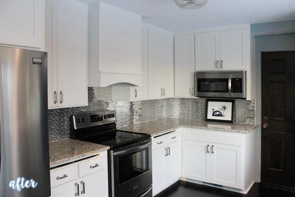 White Kitchen with Black Backsplash