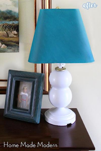 White and Aqua Bottle Lamp