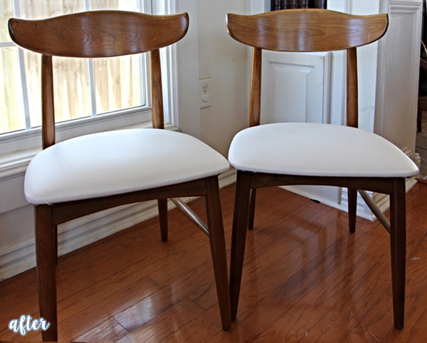 Wood and White Mid Century Dining Chairs