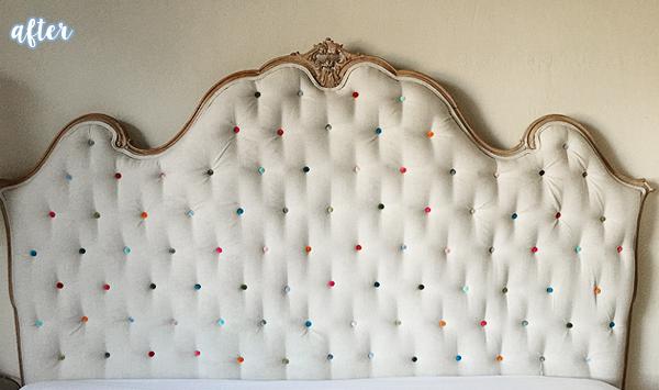 Cream Colored Button Headboard