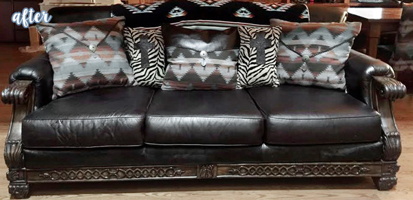 Dyed Black Leather Sofa after