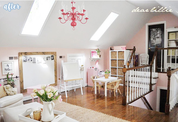 Pink and White Play Room Before 1