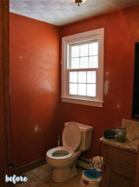 White Board and Batten Powder Room Before