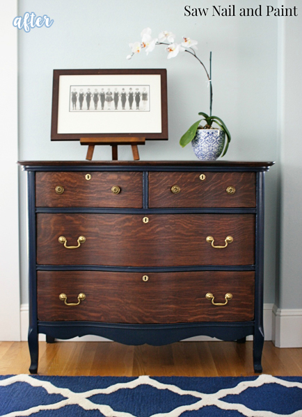 Wood and Coastal Blue Chest