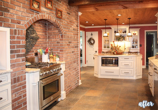 brick wall kitchen after