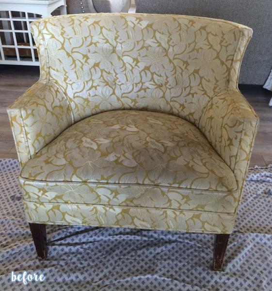 polka dot chair before