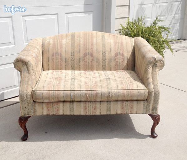 reupholstered loveseat before