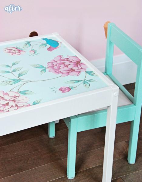 Aqua and Flower Ikea Kid Table