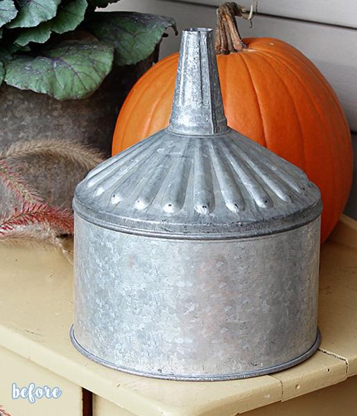Silver Tin Pumpkin, Bowl before